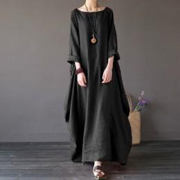 2019 verano otoño Vestidos talla grande mujer 4xl 5xl suelto largo vintage vestido Boho camisa vestido Maxi bata moda femenina q