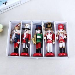 Año Nuevo decoración de niños muñeca 1 piezas 12cm de madera Cascanueces soldado Feliz Navidad decoración colgantes adornos para