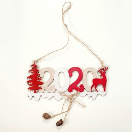 2020 letras de Navidad Elk árbol signo de madera decoración de Navidad para el hogar colgante adorno colgante nuevo