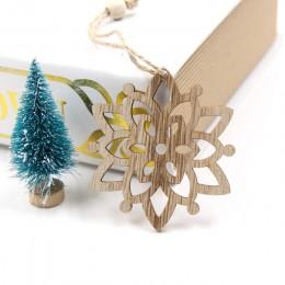 6 uds europeo hueco Navidad copos de nieve colgantes de madera ornamentos para ornamento de árbol de Navidad decoraciones de fie