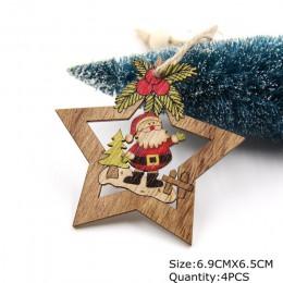 4 Uds adornos colgantes de estrellas de madera ornamento de árbol de Navidad DIY artesanías de madera niños regalo para casa dec