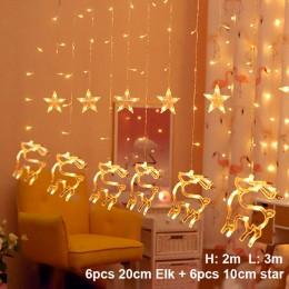 Cadena de campana de alce luz LED decoración de Navidad para el hogar guirnalda colgante decoración de árbol de Navidad ornament