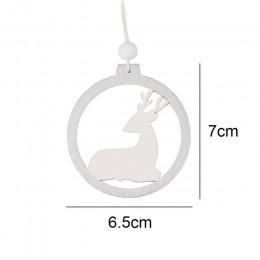 3 unids/lote ciervo blanco plateado copo de nieve madera decoraciones de colgantes de Navidad manualidades de madera adornos de