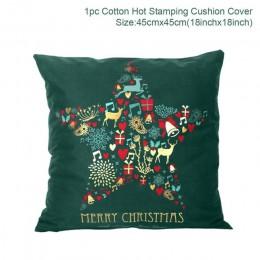 Navidad Verde Negro algodón estampado caliente funda de almohada decoración navideña para el hogar 2019 decoración de fiesta de