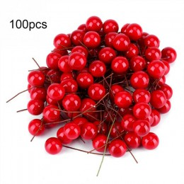 50/100 Uds. Rojo Artificial acebo Berry Navidad DIY jardín casa decoraciones suministros de Navidad