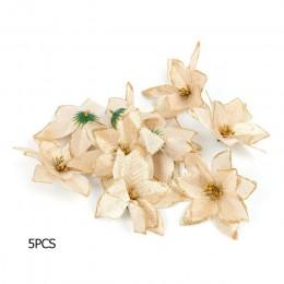 5/10 Uds flores artificiales para Navidad adornos de árbol adornos navideños para el hogar árbol de Navidad Año Nuevo decoración