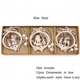 12 unids/caja Vintage hueco Navidad colgantes de madera ornamentos decoraciones de fiesta de Navidad adornos de árbol de Navidad