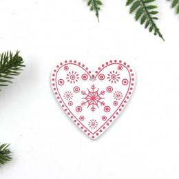 12 unids/lote DIY colgantes de madera impresos en blanco y rojo para Navidad adornos para niños regalos de navidad adornos de ár