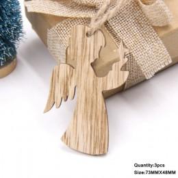 3 uds colgantes de madera Vintage de Navidad adornos de madera manualidades de madera adornos de árbol de Navidad decoraciones d