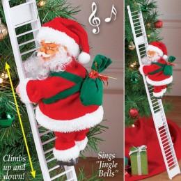 Encantadora música Navidad Santa Claus escalera eléctrica escalera colgante decoración árbol de Navidad adornos divertidos Año N