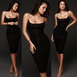 Moda mujer Bodycon Delgado corto Midi vestido fiesta Clubwear lápiz vestido sólido moda Sexy vestido sin mangas