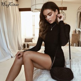 Hugcitar satén manga larga cuello alto cintura alta bodycon mini vestido sexy 2019 Otoño Invierno mujer moda fiesta ropa elegant