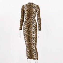 Hugcitar leopardo estampado manga larga ajustado bodycon vestido sexy 2019 Otoño Invierno mujeres streetwear fiesta vestidos de