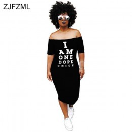 ZJFZML de talla grande vestido Bodycon Casual de mujer de hombro frío carta impresa paquete vestido de cadera otoño Slash cuello
