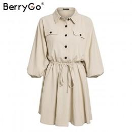 Vestidos de mujer de BerryGo mini vestidos de camisa de manga de linterna con botones de encaje vestidos de lino Vintage de prim