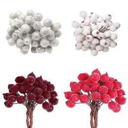 Decorativo de Navidad Mini helado Artificial Berry rojo vivo Holly Berry Holly bayas Casa Garland nuevo hermoso