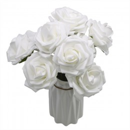 10 cabezas 8CM hogar decorativo Artificial Rosa Flores boda novia ramo DIY PE espuma flor para la decoración del Día de San Vale
