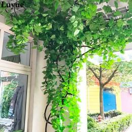 12 piezas de 230CM 7,5 pies de largo plantas artificiales hojas de hiedra Artificial vid falsa hojas de follaje de la boda del h