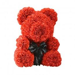 2019 venta al por mayor barato 40cm oso rojo oso de peluche rosa flor Artificial decoración de Navidad regalos para mujeres rega