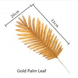 5 uds. Verde dorado de alta calidad hoja falsa hojas artificiales de palmera tropical DIY planta hogar fiesta boda mesa escritor