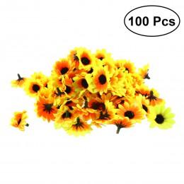 100 Uds cabezas de girasoles de plástico artificiales adornos de fiesta doméstica accesorios (amarillo)