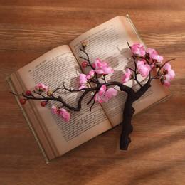 Erxiaobao Rosa Blanco rojo invernal flor de ciruelo Artificial flores falsas de cerezo de seda plantas fiesta boda hogar Decorac