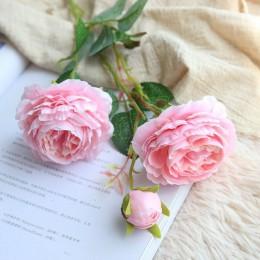 YO CHO Rosa flores artificiales 3 cabezas peonías blancas flores de seda rojo rosa azul flor falsa decoración de boda para el ho