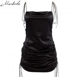 Macheda moda mujer sólido Spaghetti correas sin espalda sin mangas Sexy vestidos de longitud inferior ajustable señoras Casual v