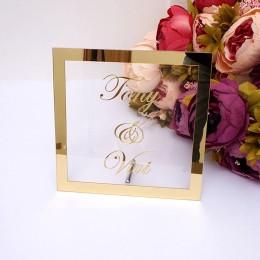 Personalizado novia novio nombre espejo marco boda señalización personalizada transperante acrílico signo placa con decoración d
