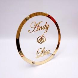 Redondo personalizado boda nombre personalizado espejo marco acrílico Babyshower palabra signo círculo forma fiesta decoración c