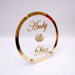 Redondo personalizado boda nombre espejo marco acrílico pegatina Babyshower palabra signo círculo forma fiesta decoración con uñ