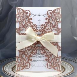 50 Uds. Oro azul papel plateado brillante corte láser Tarjeta de invitaciones de boda personalizada imprimible con decoración de