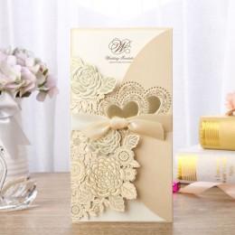 1 Uds. Muestra de oro blanco cortado con láser Tarjeta de invitaciones de boda personalizada imprimible con decoración de la bod