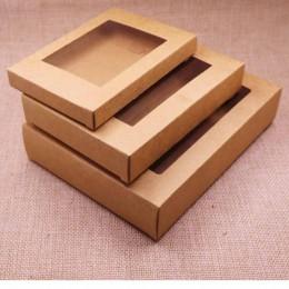 10 Uds. Nuevo 2018 Diy Kraft/caja de papel de ventana Vintage/caja de regalo de boda caja de favor puede logotipo personalizado