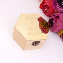 Caja con forma de hexágono con cubierta espejada personalizada nombre fiesta regalo cajas de madera boda caramelo titular decora