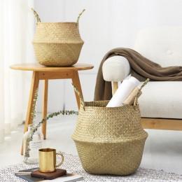 Cesta de almacenamiento Natural plegable para el hogar, Cestas tejidas para el jardín, florero, cesta colgante con asa de almace
