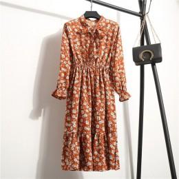 2019 vestidos de chifón de primavera y otoño para mujer con cuello alto con lazo estampado Floral volantes Vestido de manga larg