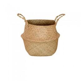 Canastos de almacenaje de bambú hechos a mano plegable paja de lavandería Patchwork mimbre de ratán vientre jardín flor maceta c