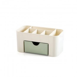 Rosa azul verde plástico maquillaje organizador maquillaje cepillo caja de almacenamiento con cajón algodón bastoncillos Stick c