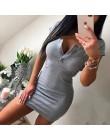 Vestido de verano 2018 otoño mujer Sexy Casual tejido vaina Mini Vestidos Mujer sólido cuello en V pecho botón manga corta Bodyc