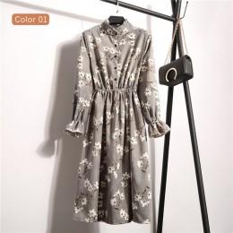 Nuevo 2019 alta cintura elástica Corduroy Vintage vestido de línea a mujeres de manga larga flor Plaid estampado vestidos delgad