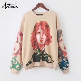 Artsnie streetwear personaje estampado Mujer sudadera primavera 2019 cuello redondo manga larga jersey tejido Sudadera con capuc