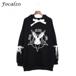 Focal20 Harajuku pentagrama estampado de encaje para mujer sudaderas con capucha gótico Punk de gran tamaño de terciopelo Sudade