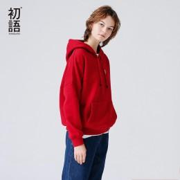 Sudadera con capucha Toyouth para mujer 2019 Otoño Invierno Sudadera con capucha de lana con bordado de letras de Color sólido c