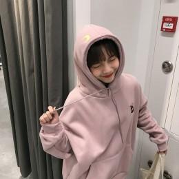 Sudadera con capucha bordada Luna gato Rosa sudaderas mujer Kawaii estilo coreano