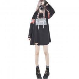 2019 Corea mujeres Lolita Long Hoodies japonés Harajuku moda ECG gráfico femenino blanco sudadera con corazón Kawaii gótico Tops