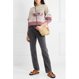 Mujer algodón letra Patchwork sudadera Otoño Invierno manga larga cuello redondo Mujer Pull Top