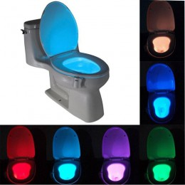 Luz nocturna de baño inteligente LED movimiento del cuerpo activado On/Off lámpara del Sensor del asiento 8 colores lámpara del