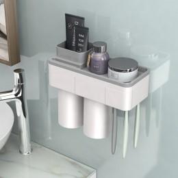 BAISPO de adsorción magnética soporte de cepillo de dientes taza invertida montaje en pared baño limpiador estante de almacenami