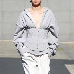 TWOTWINSTYLE sudaderas de primavera para mujeres sudaderas con capucha de manga larga cuello en V alta cintura delgada sudadera